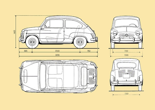 Fiat 600 Drawing sign