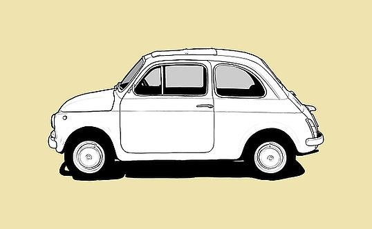 Fiat 500 Drawing metal sign