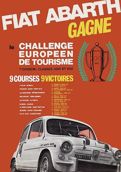 Fiat Abarth Gagne le Challenge Europeen De Tourisme A3 Sign