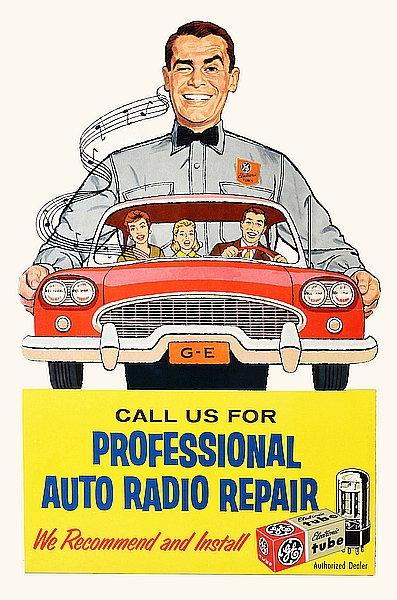 GE car radio repair sign c1950s