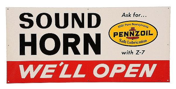Pennzoil, Sound Horn - We'll Open metal sign