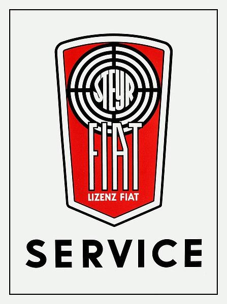 Fiat Service metal sign