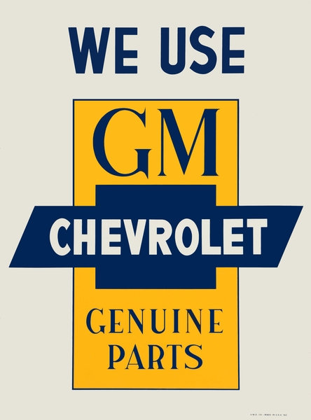 GM Chevrolet Genuine Parts sign
