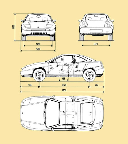 Fiat Coupe Drawing metal sign