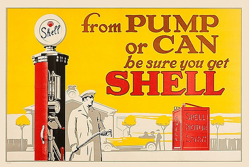 From Pump or Can... Shell metal sign