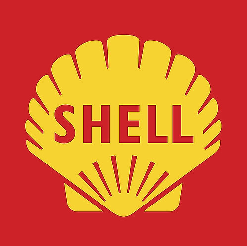 Shell (red background) metal sign