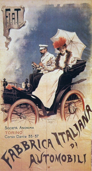 First ever FIAT advertising poster 1899 sign