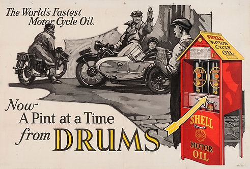 Shell Motor Oil.. Now a pint at a time in drums