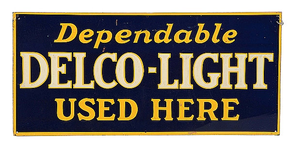 Delco-Light metal sign