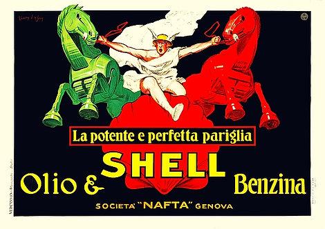 Olio & Shell Benzina Sign