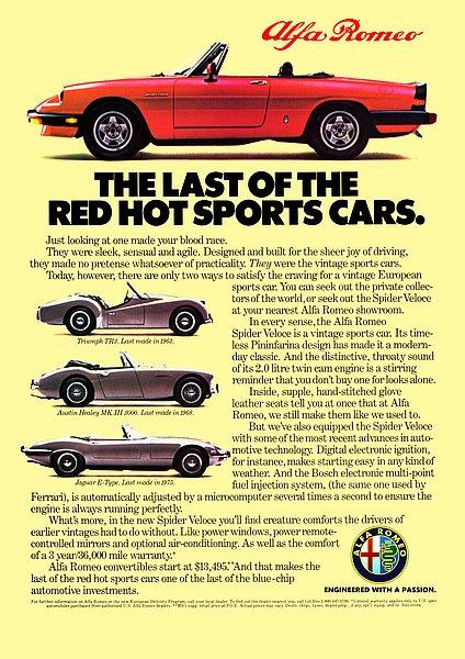 Alfa Romeo Spider Veloce Advert A3 Sign