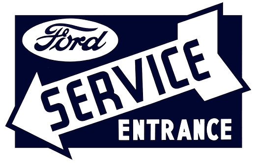 Ford Service Entrance with arrow metal sign