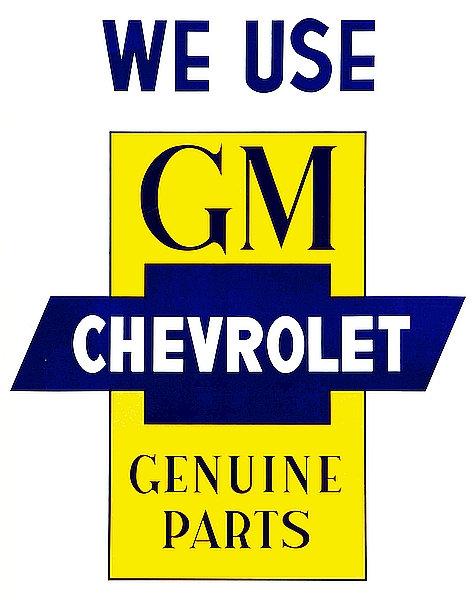 GM Chevrolet Genuine Parts metal sign
