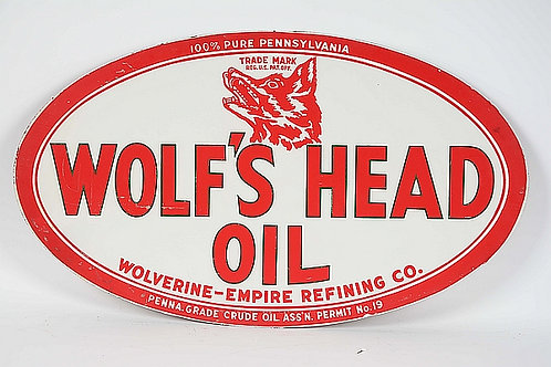 Wolf's Head Oil metal sign