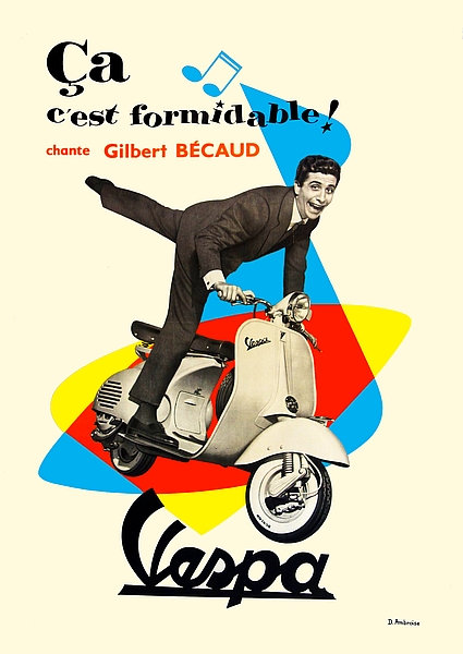 Vespa with Gilbert Becaud A3 Sign
