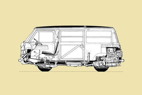 Fiat 850 T-Van Cross Section Drawing sign