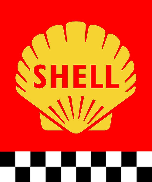 Shell (chequered stripe) metal sign