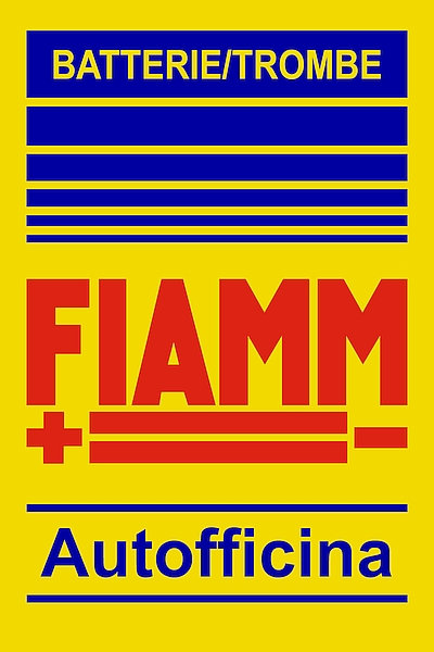 FIAMM battery and horns metal sign