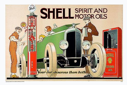 Shell Spirit and Motor Oils metal sign