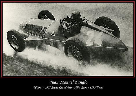 Juan Manuel Fangio in Alfa Romeo 159 Alfetta 1951 Photo A3 Sign