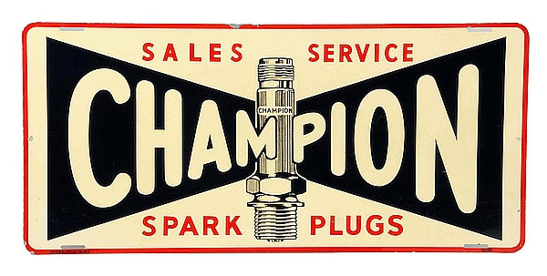 """Very Early Champion Spark Plugs """"Sales Service"""" metal sign"""