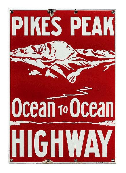 Pikes Peak Highway metal sign