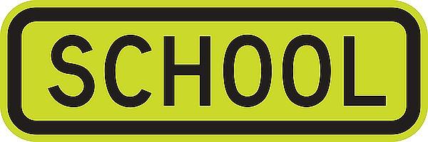 SCHOOL road metal sign