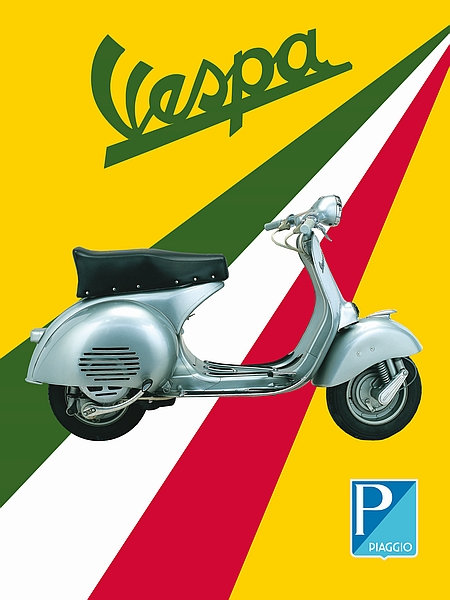 Vespa with Italian stripe Sign