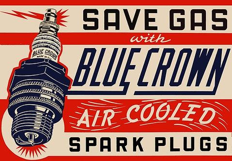 Blue Crown Spark Plugs sign