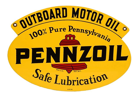 Pennzoil Outboard Motor Oil sign dated 1960