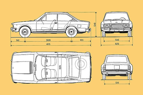 Fiat 124cc Drawing metal sign