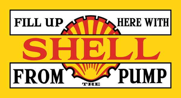 Fill Up Here With Shell From The Pump c. 1932 sign