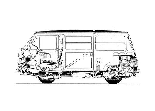 Fiat 850 T-Van Cross Section Drawing metal sign