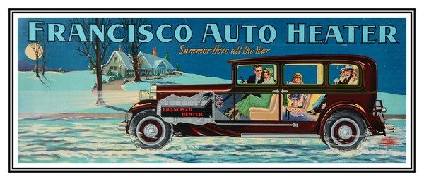 Francisco Auto Heater sign  - early 20th Century