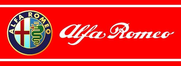 Alfa Romeo badge and title metal sign