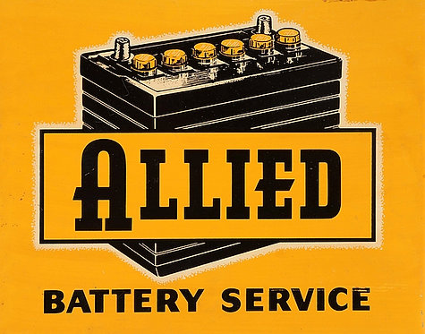 Allied Battery Service metal sign