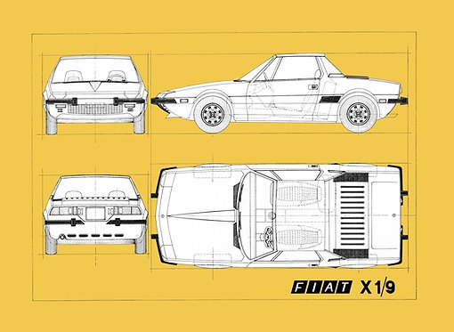 Fiat X-1/9 Drawing sign