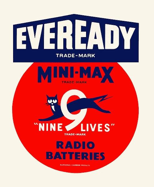Eveready Nine Lives battery sign
