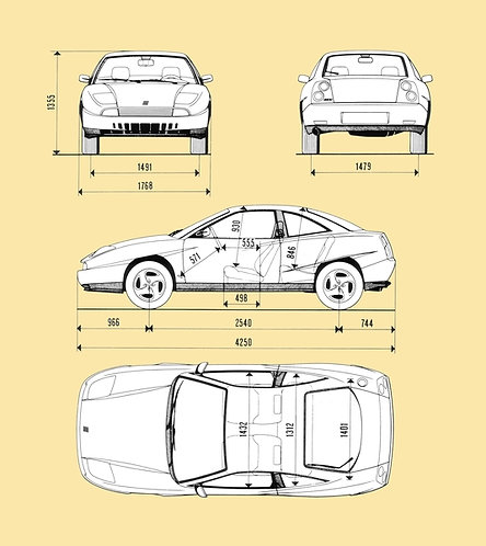 Fiat Coupe Drawing sign