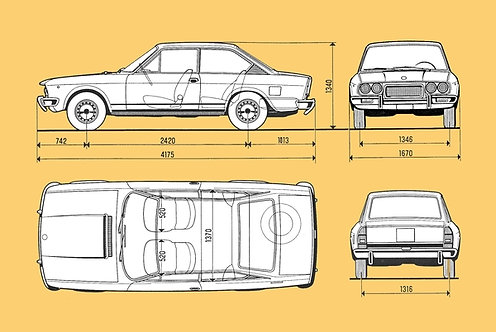Fiat 124cc Drawing sign