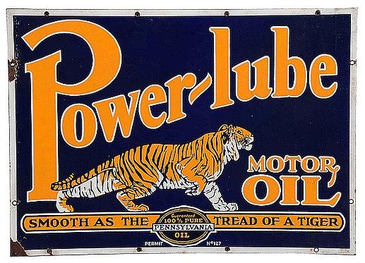Power-lube Motor Oil metal sign