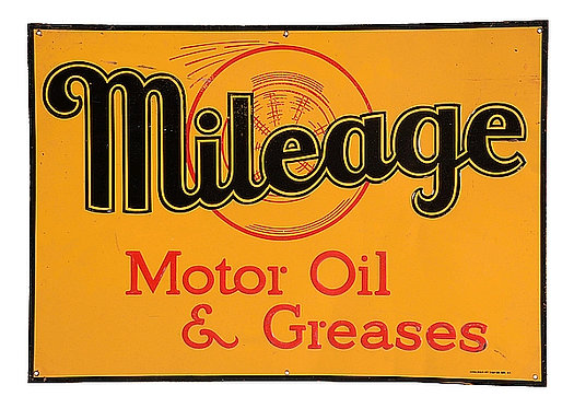 Mileage Motor Oil & Greases metal sign