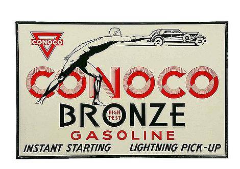 Conoco Bronze Gasoline metal sign