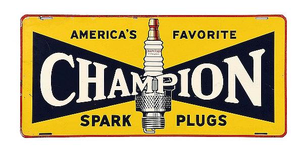 "Champion Spark Plugs ""America's Favorite"" metal sign"