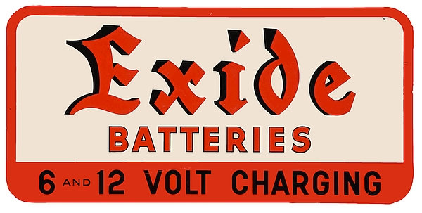 Early Exide Battery metal sign