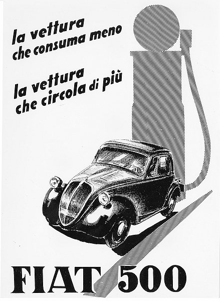 FIAT Topolino Ad c.1936 metal sign