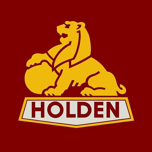 Holden Gold Lion on Burgundy Sticker