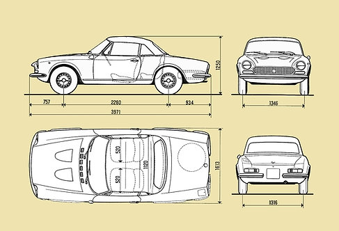 Fiat 124 Spider Drawing sign