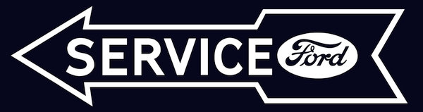 Ford Service (arrow) metal sign