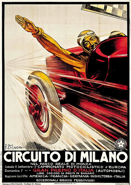 Circuito Di Milano Advert A3 Sign